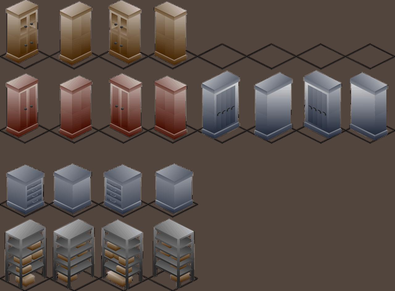 רהיטים בגדלים שונים