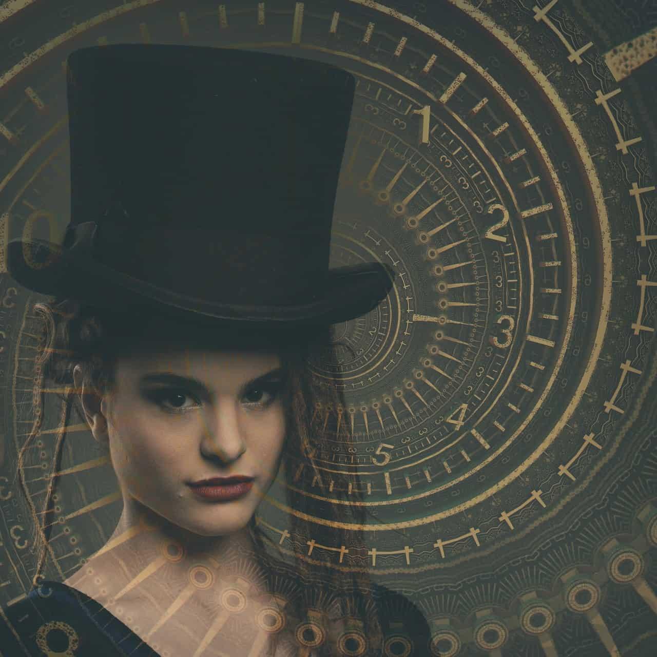 אישה עם כובע קוסמים על רקע מחוגי זמן